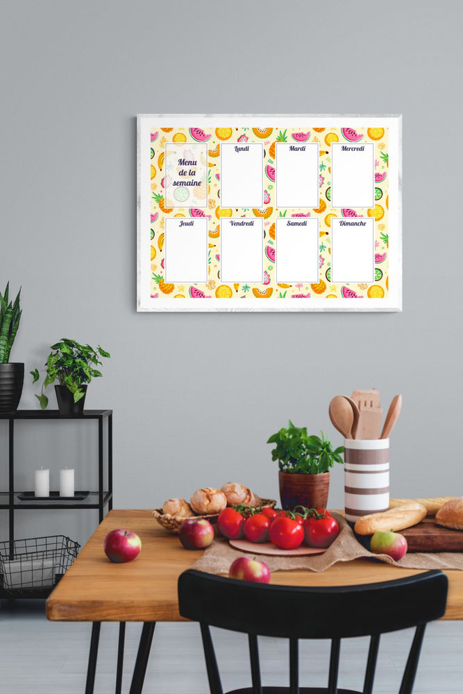 Planning Menu Fruits Tropicaux - Chouette Cards