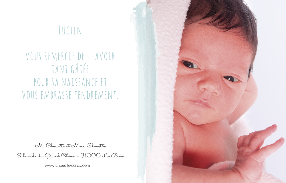 Carte de remerciements Aquarelle - Chouette Cards