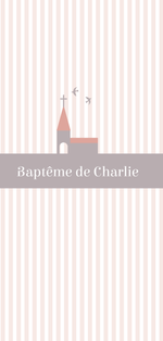 Faire-part de baptême Eglise rose - Chouette Cards