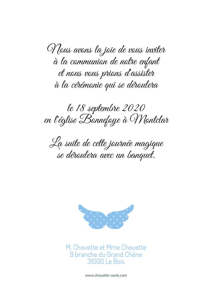 Faire-part de communion Religieux Ange - Chouette Cards