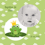 Faire-part de baptême Grenouille photo - Chouette Cards