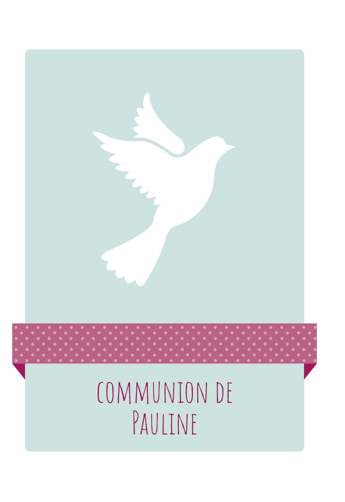 Faire-part de communion Colombe - Chouette Cards