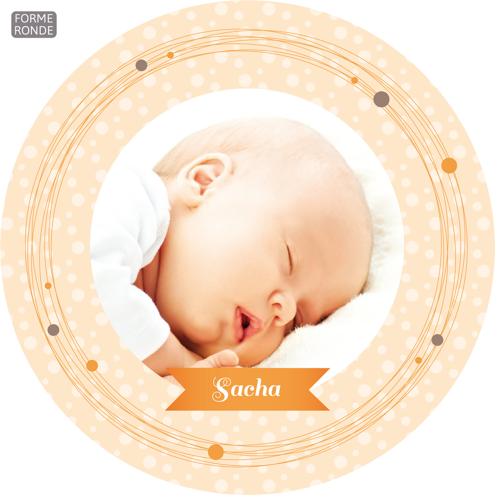 Faire-Part de naissance Tourbillon Rond orange - Chouette Cards