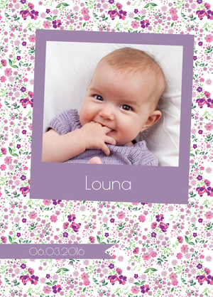 Faire-Part de naissance Photomaton Liberty violet - Chouette Cards