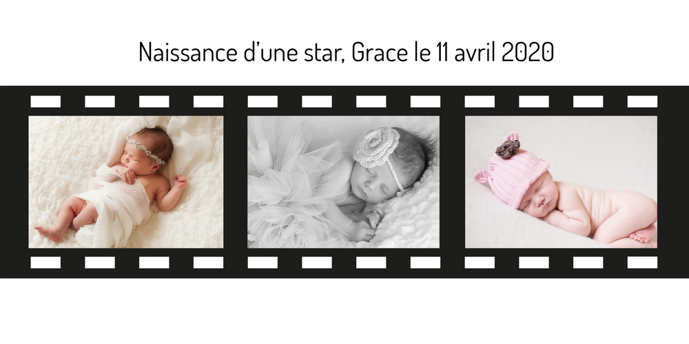 Faire-part de naissance Magnet Cinema Photo - Chouette Cards