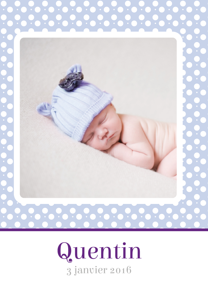 Faire-Part de naissance Photo Pois Blanc