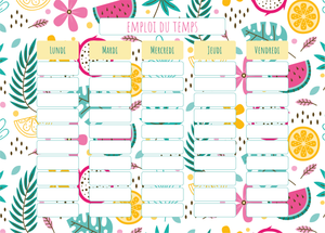 Planning Scolaire Fruits Exotiques - Chouette Cards