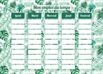 Planning Scolaire Feuillage Tropical - Chouette Cards