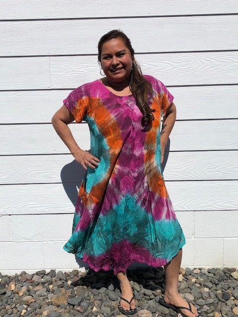 Umbrella tie dye Dress, plus size, magenta orange UZ119XX