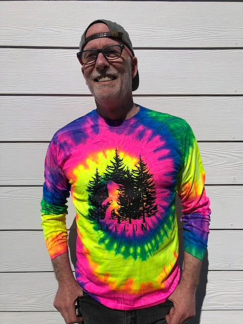 Sasquatch and trees on tie dye long sleeve t-shirt