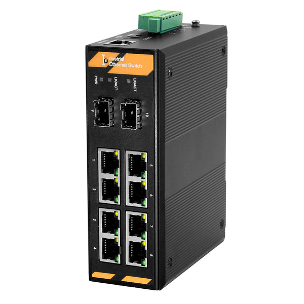 8 x 10/100/1000Base-Tx to 2 x 100/1000Base-Fx SFP ring managed Industrial switch, support EPRS Ring and layer 2 network management, DC 10~58V
