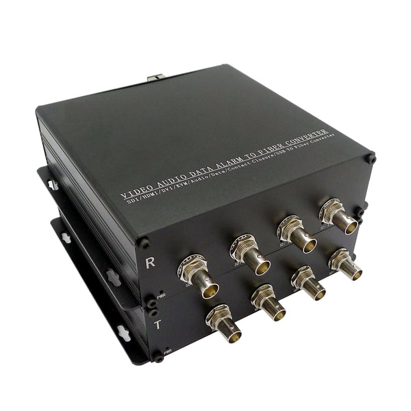 4 Ch Independent 3G-SDI Over Fiber Extender to 10 Kilometers, 4K SDI to Fiber Converter,4K at 60fps
