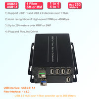 4 Ports USB 2.0/1.1 hub Over Fiber Extender to Max 250 Meters (820 FT) SM or MM Fiber, w/SFP Module