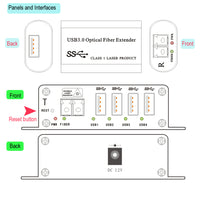 4 Ports USB 3.0/2.0/1.1 Over Fiber Optic Extender to 250 Meters, Backward Compatible USB 2.0/1.1