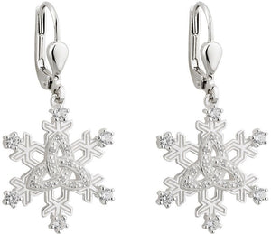 Silver Trinity Knot Snowflake Earrings