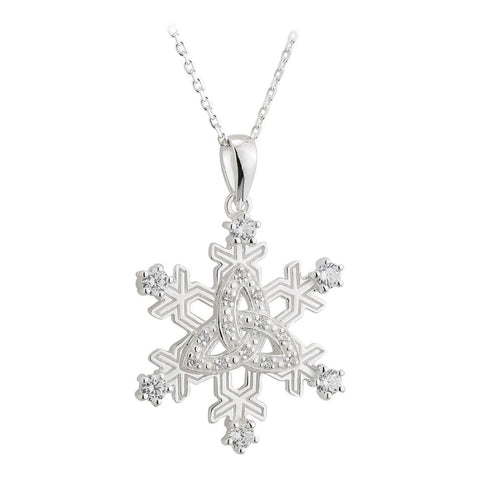 Silver Trinity Knot Snowflake Pendant and Necklace