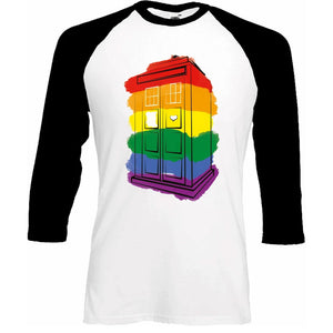 Doctor Who: Rainbow TARDIS Baseball Shirt