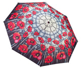 Stained Glass Poppies Folding Umbrella