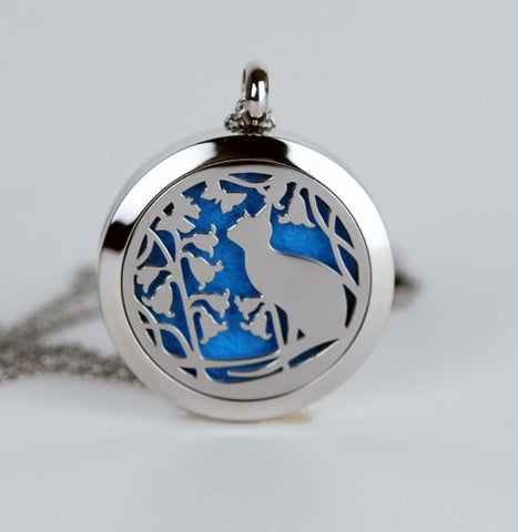 Aromatherapy Locket and Necklace: Cat with Bluebells
