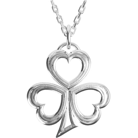 Silver Shamrock Pendant & Necklace