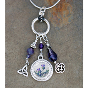Scottish Thistle and Amethyst Pendant and Necklace