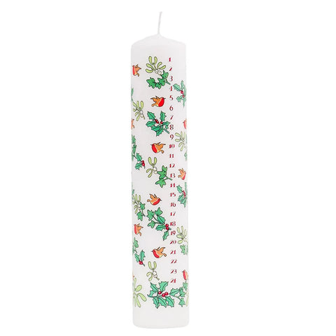 Holly and Ivy Advent Pillar Candle