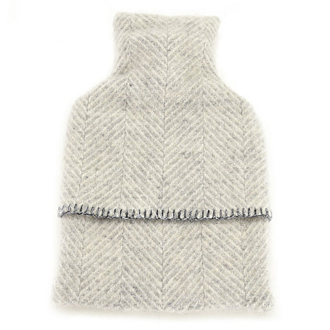Hot Water Bottle and Wool Cozy: Grey Herringbone