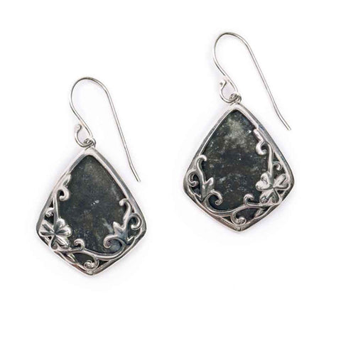 Connemara Marble and Silver Shamrock Earrings
