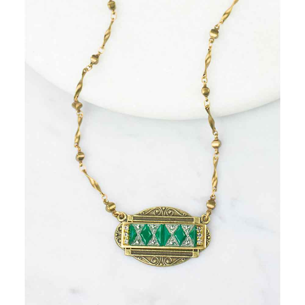Art Deco Jade Glass Necklace