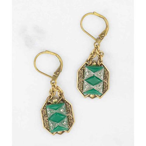 Art Deco Jade Glass Earrings