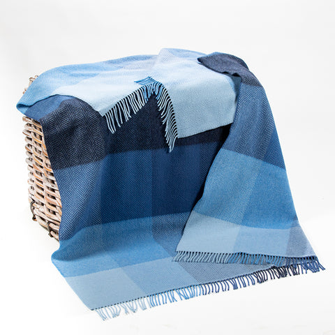Irish Merino and Cashmere Wool Throw: Blue Blocks