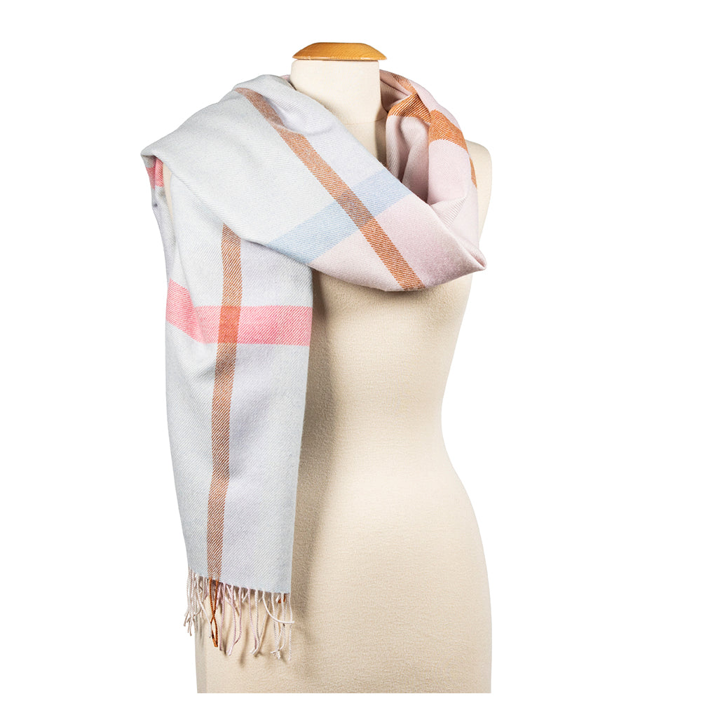 Irish Merino Wool Wrap: Light Blue and Pink