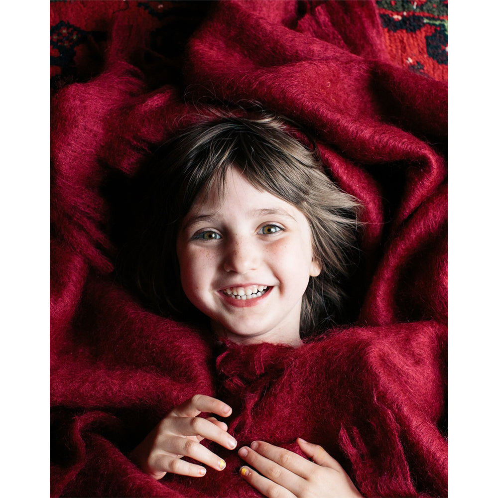 Irish Mohair Wool Throw: Ruby