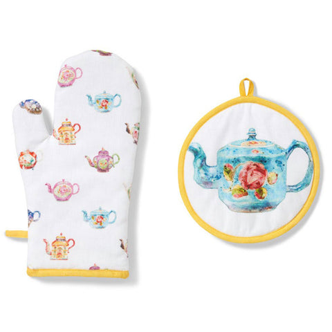 British Teapots Oven Mitt and Pot Holder Set