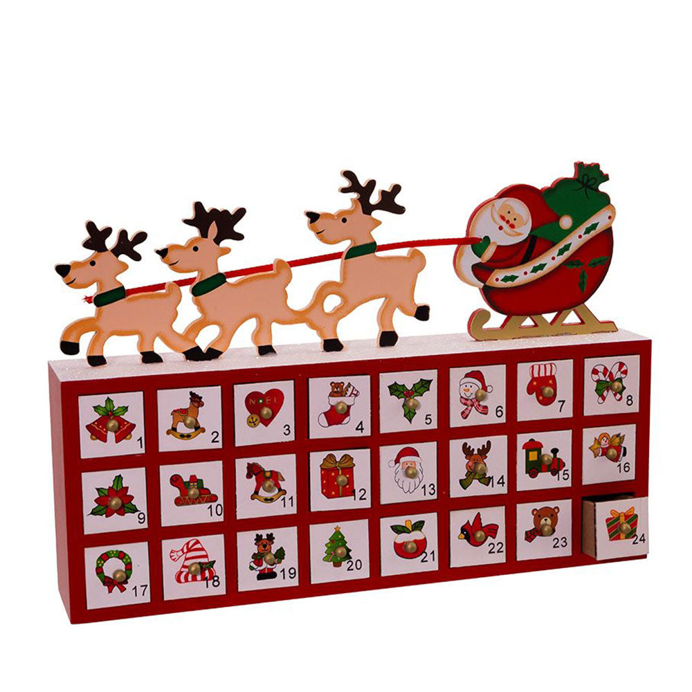 """Santa and his Reindeer"" Wooden Advent Calendar"