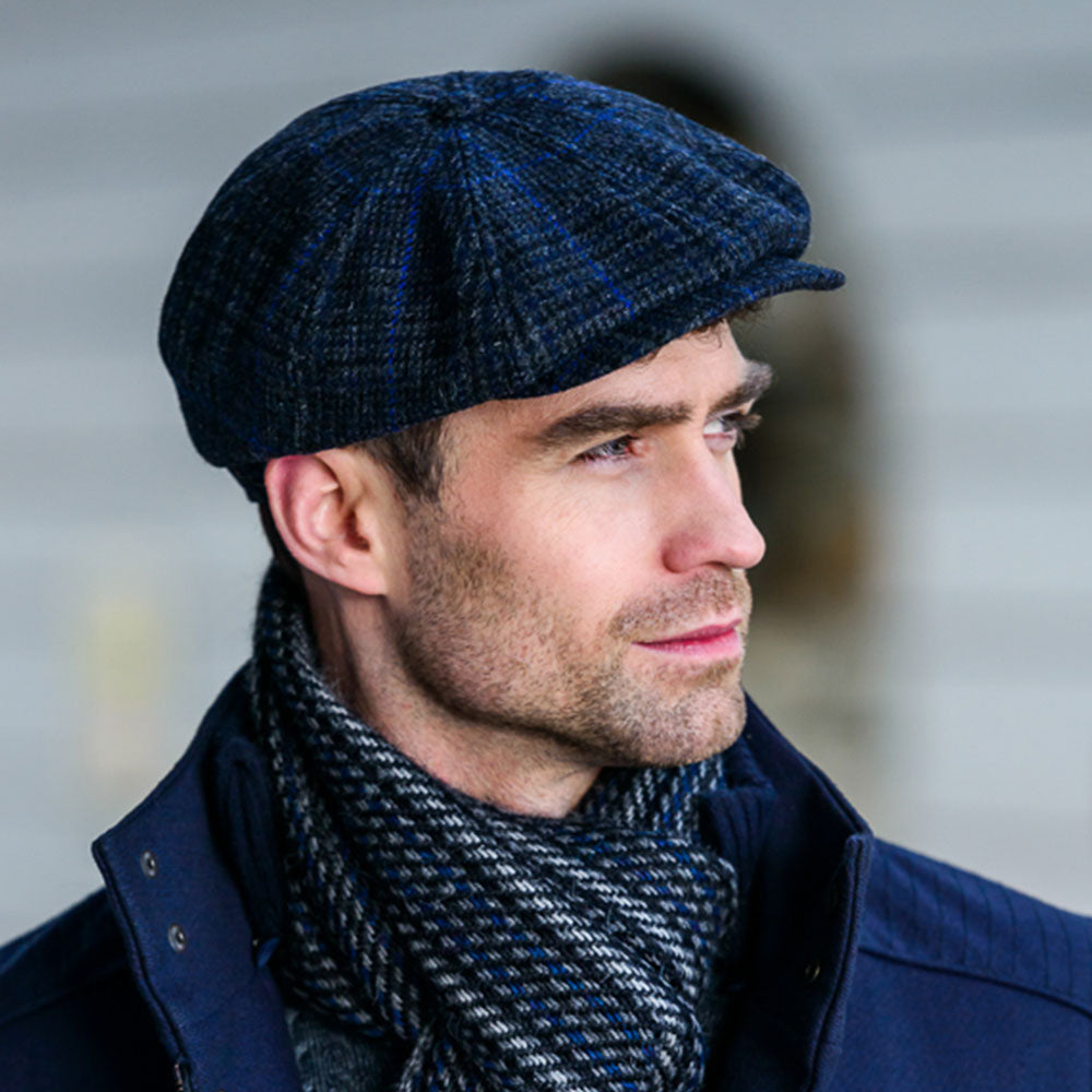 Kerry Cap: Charcoal and Blue Check