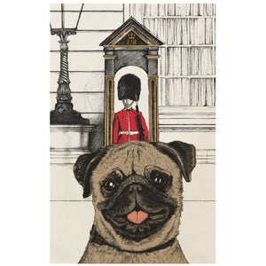 """Royal Doggies"" Tea Towel: Pug"