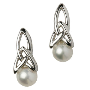 Celtic Silver Pearl Earrings