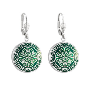 Book of Kells Trinity Knot Earrings: Green