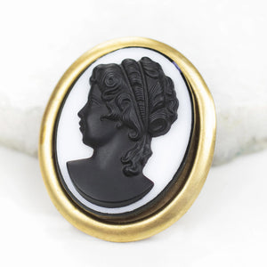 Vintage Glass Cameo Brooch and Pendant