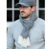 Alpaca Scarf in Grey Herringbone
