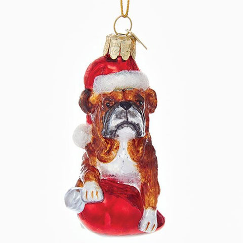 Bulldog Glass Ornament