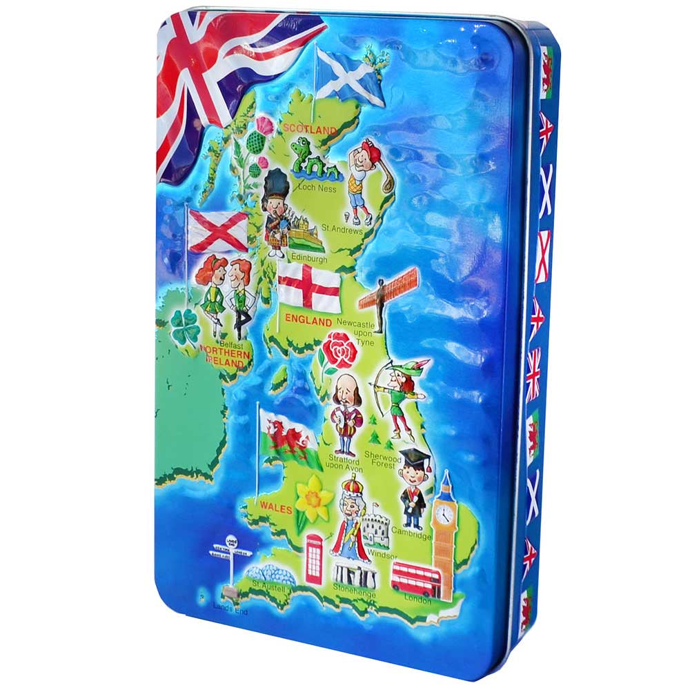 Churchill's Confectionery Salted Caramel Fudge and UK Map Tin