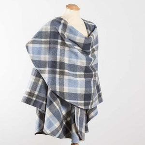 Irish Lambswool Plaid Cape: Sky Blue and Grey