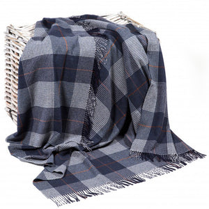 Irish Lambswool Plaid Throw: Blue Slate