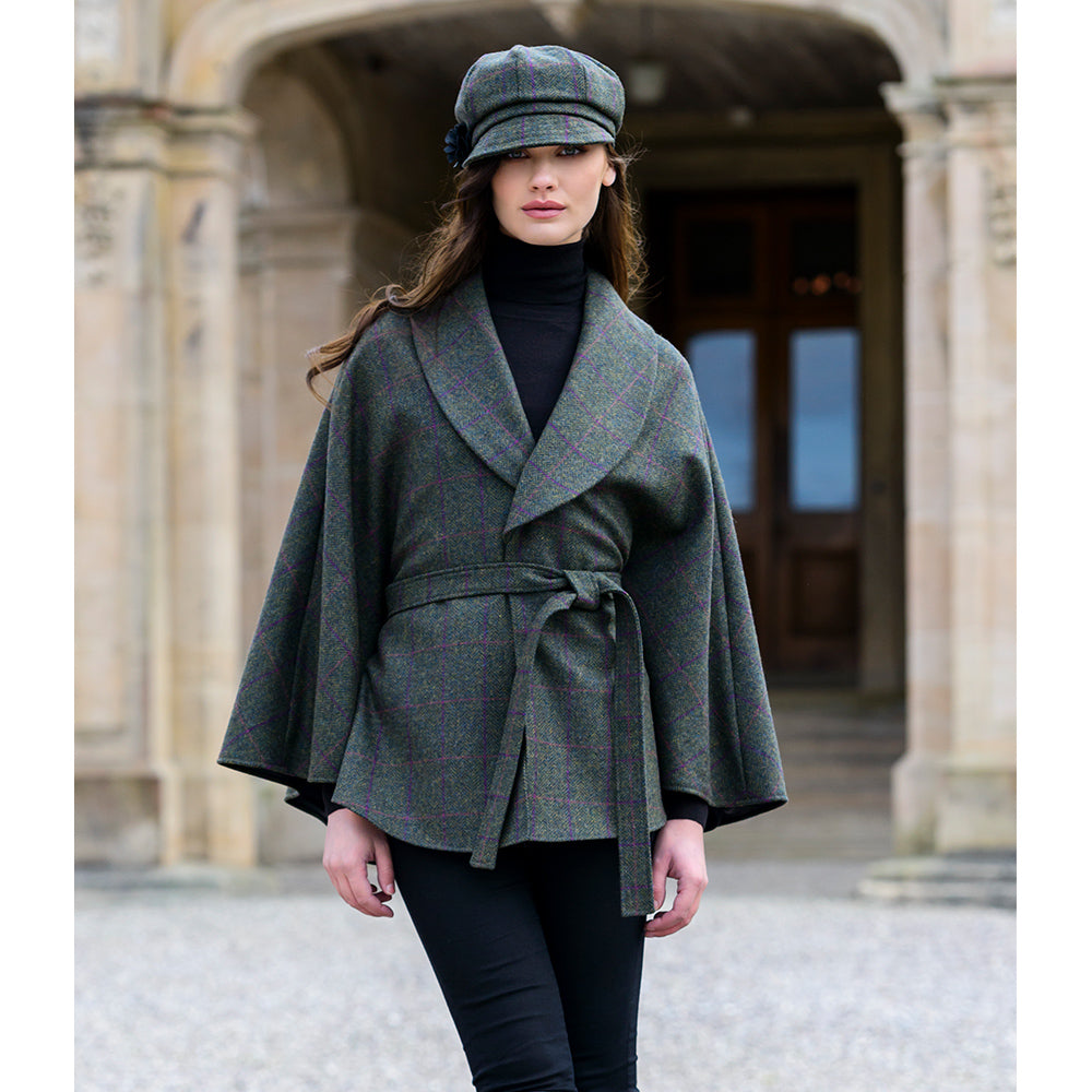 Killarney Wool Tweed Cape: Moss Green