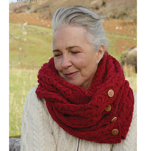 Merino Wool Celtic Infinity Scarf: Red