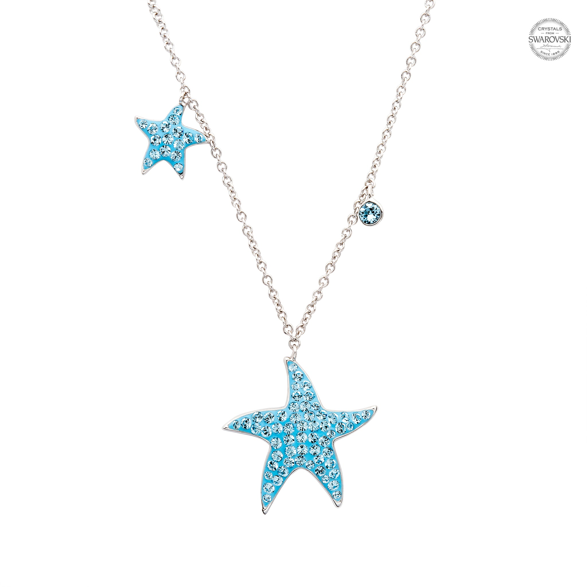 Mom And Baby Starfish Necklace with Aqua Swarovski® Crystals