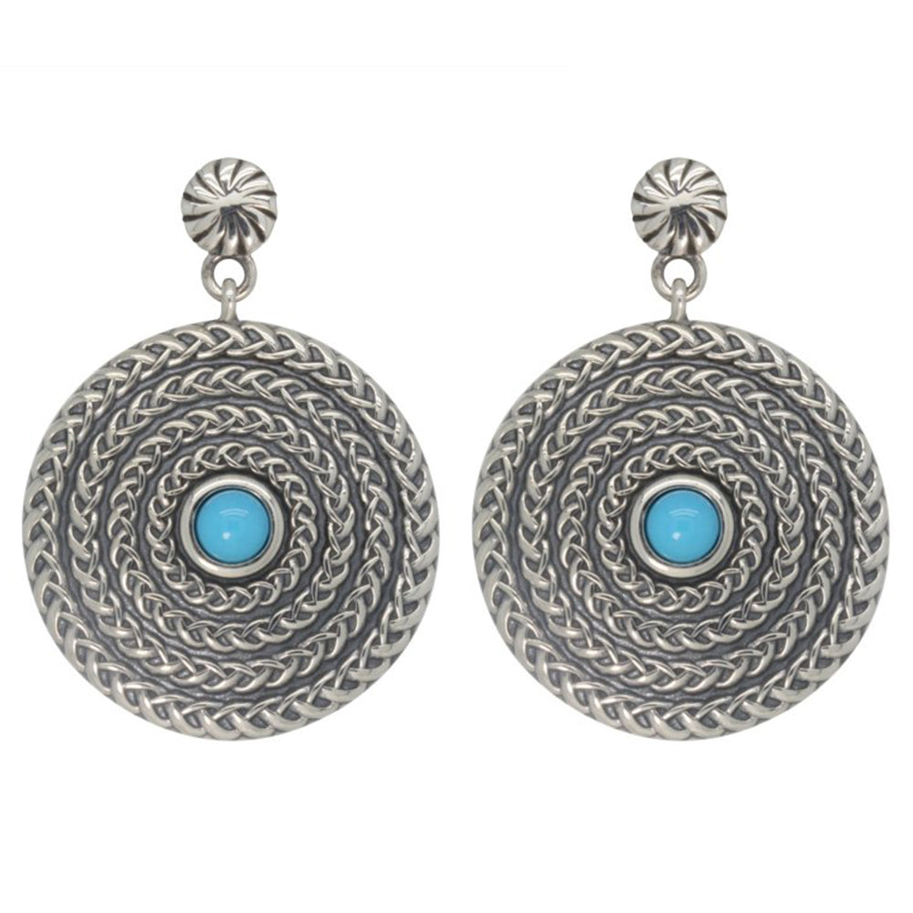 Silver and Turquoise Circle Earrings
