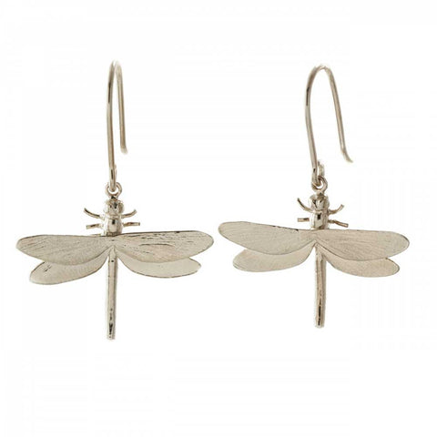 Silver Dragonfly Earrings by Alex Monroe